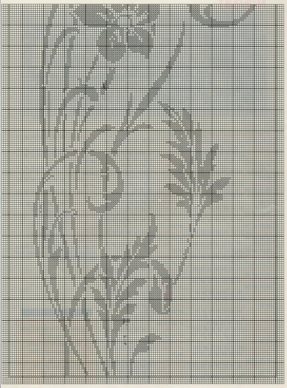 Nonsolodolciricette: Tenda lavorata a filet con ramo fiorito