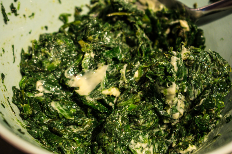 Spinach filling for salmon en croute | Svelte Salivations