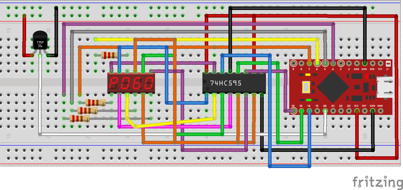 Fritzing Project Arduino shift register Larson Scanner