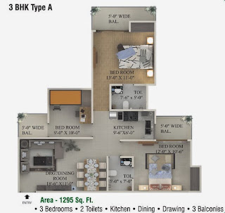 Ecociti :: Floor Plans,3 BHK Type A 3 Bedrooms, 2 Toilets, Kitchen, Dining, Drawing, 3 Balconies Area - 1295 Sq. Ft.