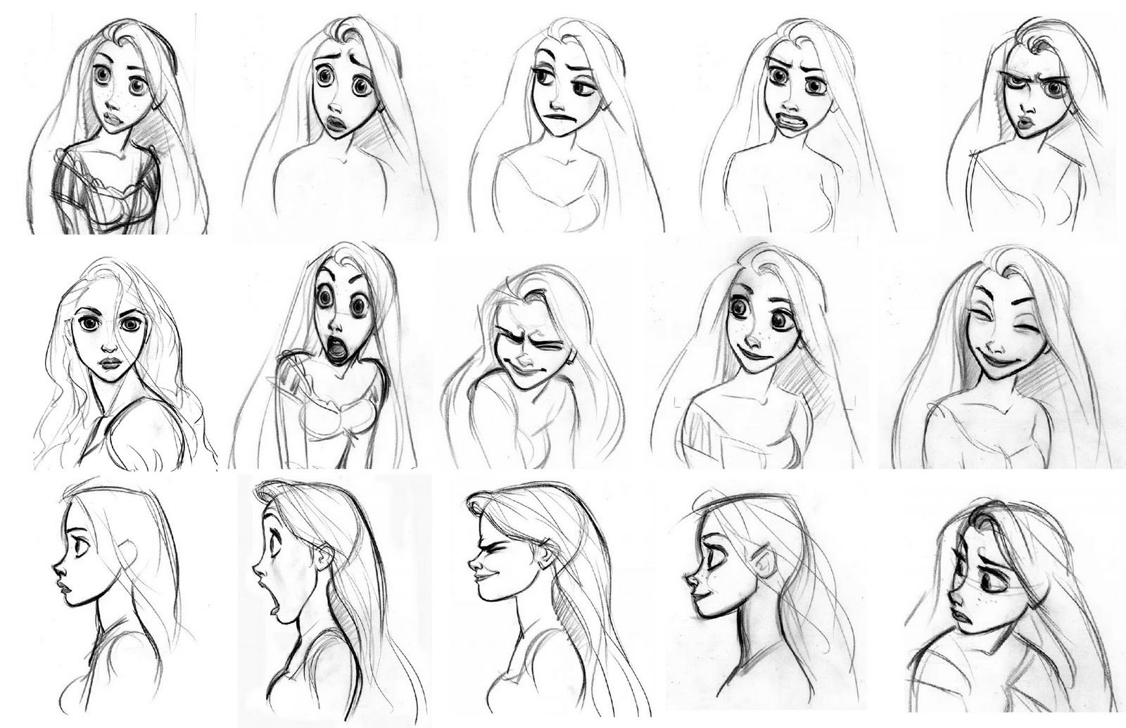 Disney Character Design Study : Cartoon concept design tangled sketches and characters