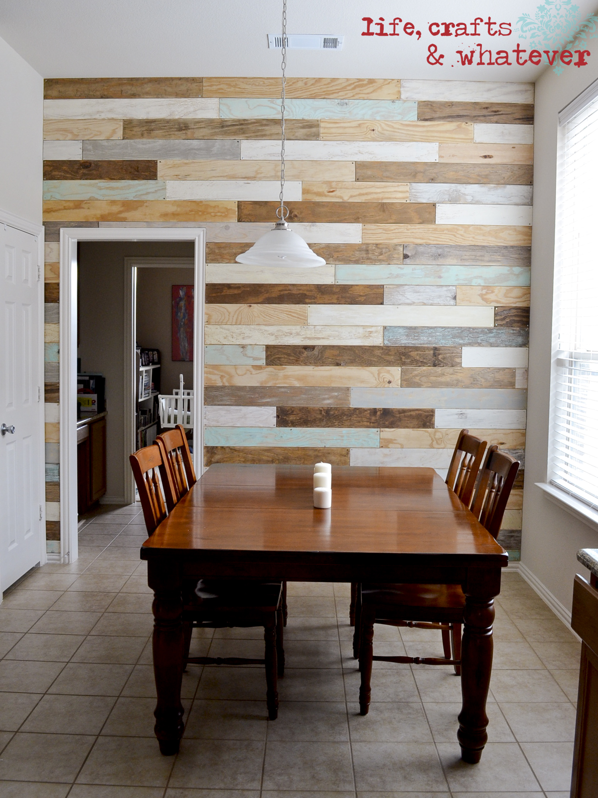 Life crafts whatever my plank wall finally - Wooden pallet accent wall ...