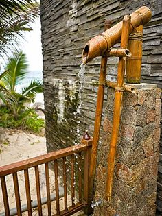 Outside pool shower -put shower head inside of bamboo stalk