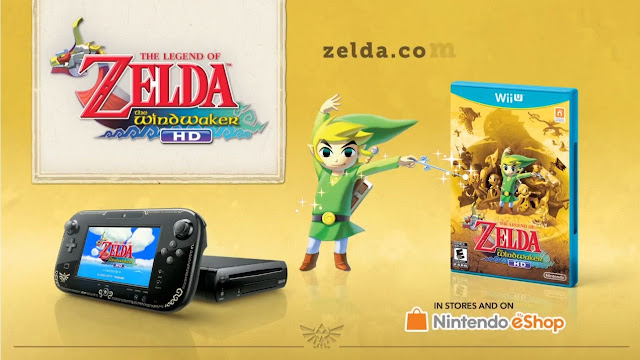 Image of Wii U GamePad decorated with the Triforce and other icons standing next to a copy of The Legend of Zelda: Wind Waker HD