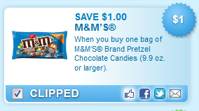 Save on M and M Pretzels