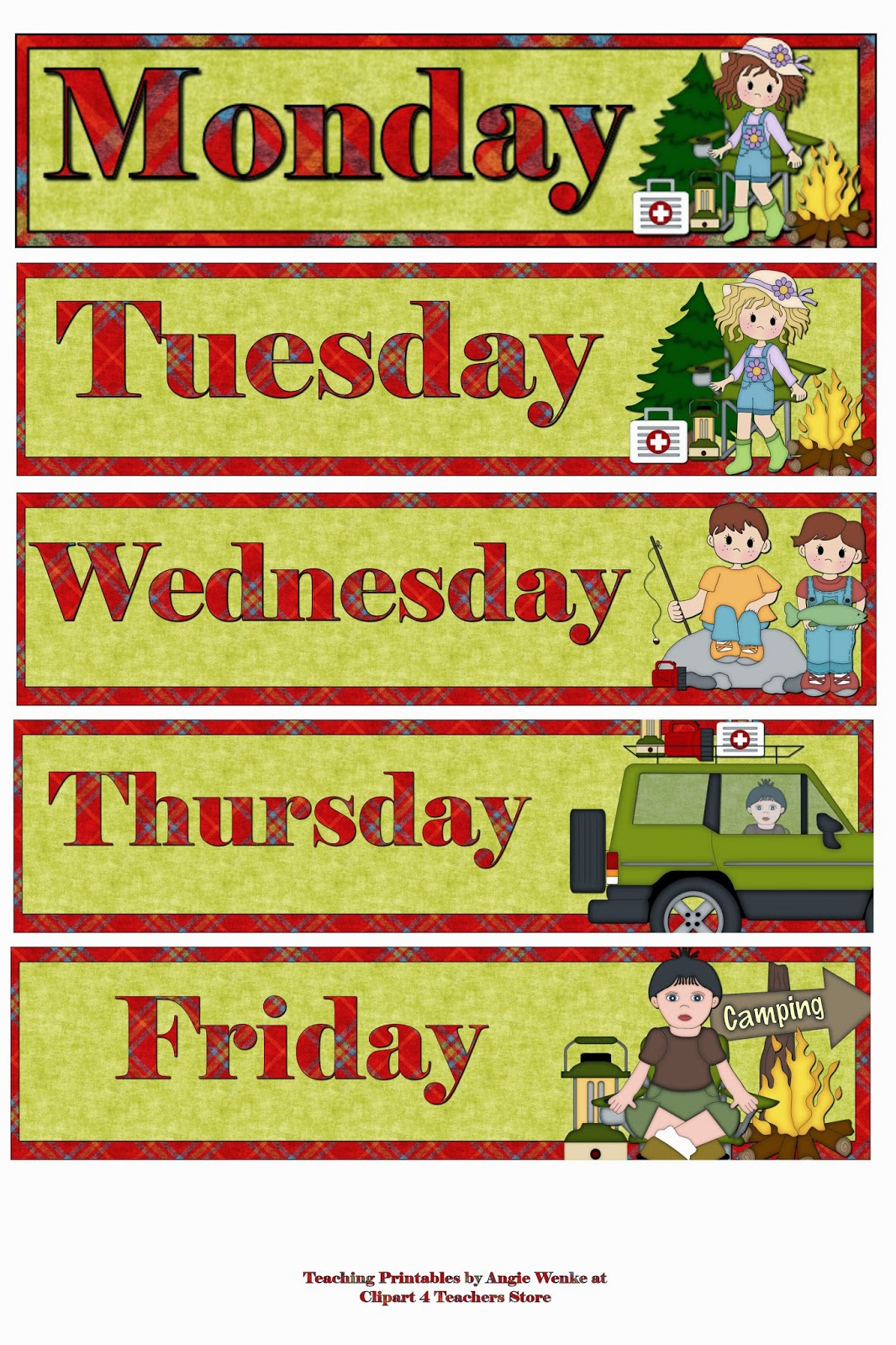 Resale Clipart: FREE Days of the Week for Teachers