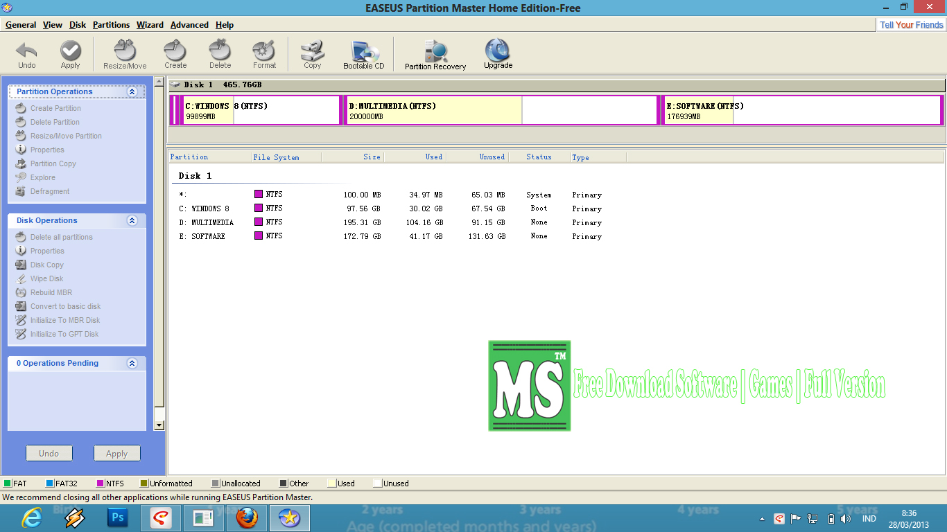Screenshoot. partition magic 8 with crack.