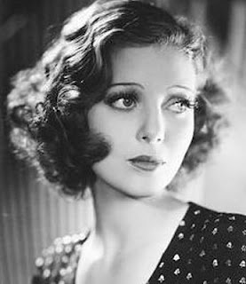 Vintage black and white photo of Loretta Young.