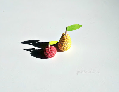 fruits pomme poire crochet miniatures