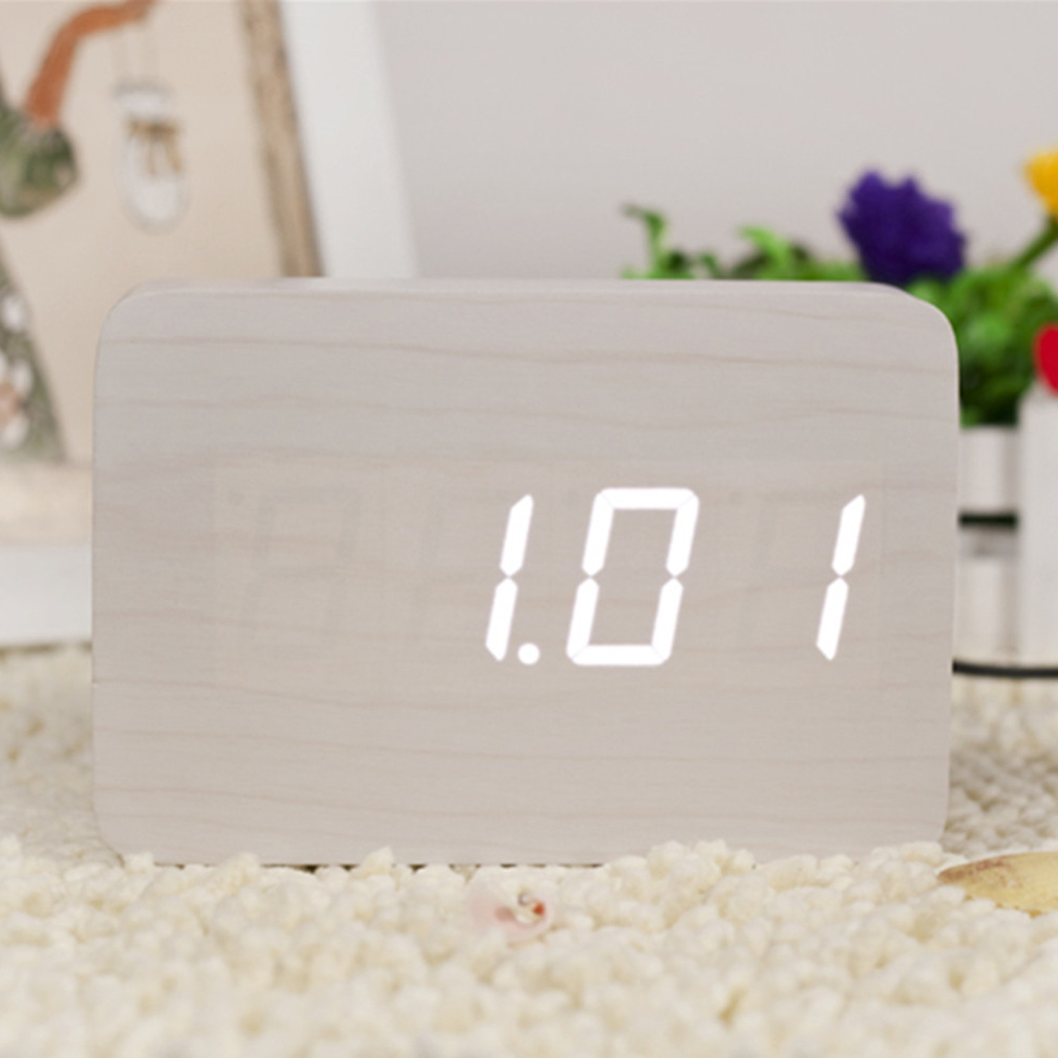 Brick Click Clock White LED White