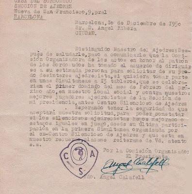 Carta de la sección de Ajedrez de la Casa del Sordomudo a Ángel Ribera, 1950