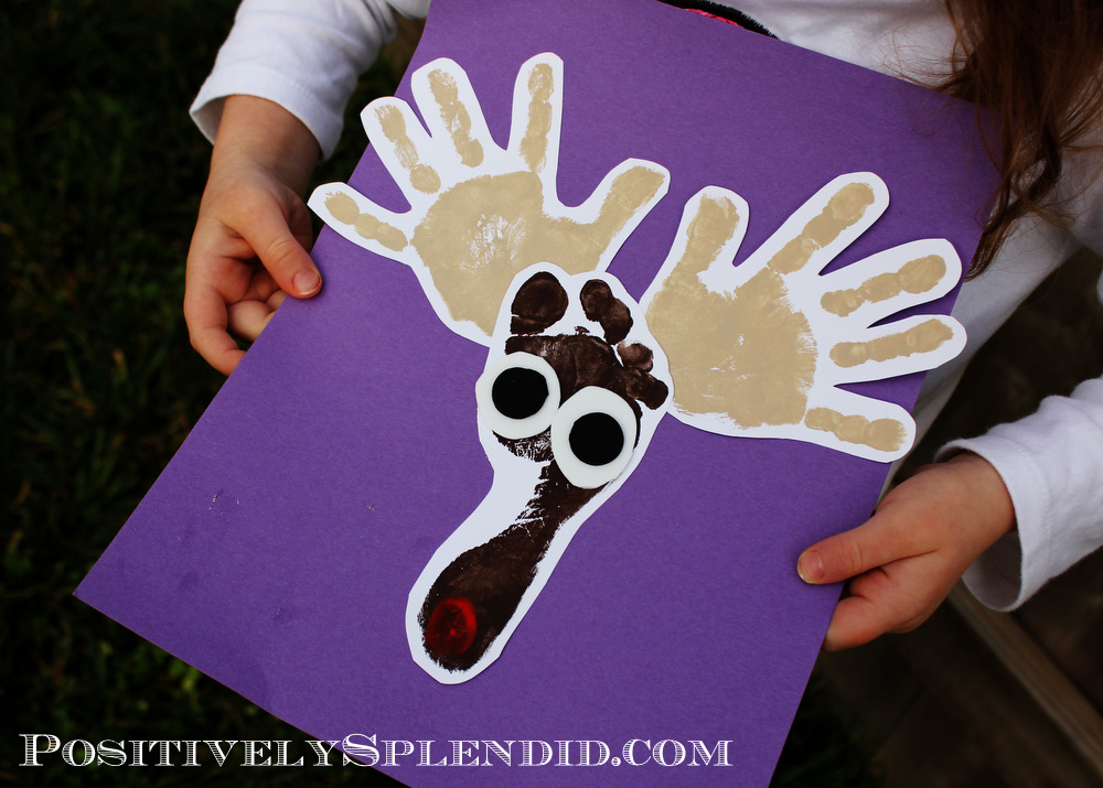 Handprint and footprint reindeer craft positively for Hand and foot crafts