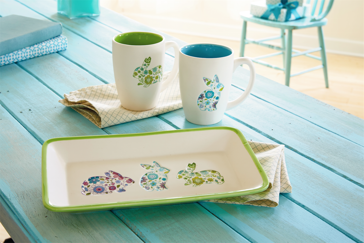 Hallmark Easter Must-Haves - Bunny Mugs and Serving Platter