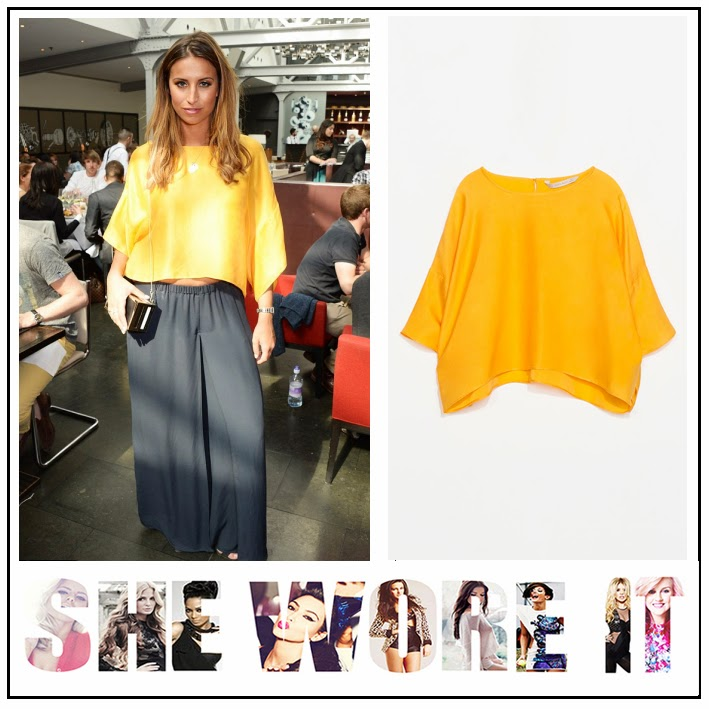 Batwing, Crop Top, Ferne Mccann, Navy Blue, Orange, Oversized, Palazzo Trousers, The Only Way Is Essex, TOWIE, Waist Detail, Zara,