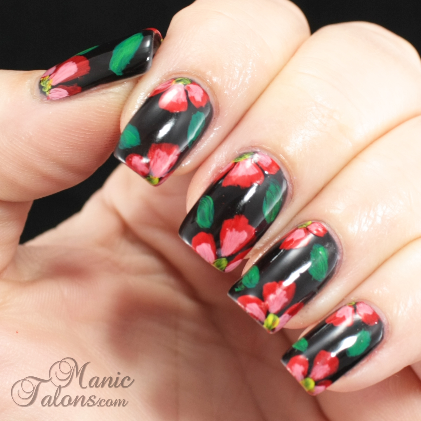 Freehand Acrylic Flowers Nail Art