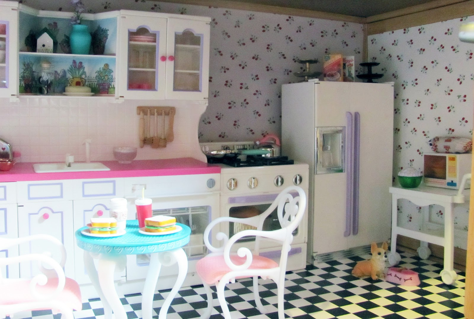 some of the items in the kitchen are barbie some are kitchen little some are miniatures i found in various places over the years