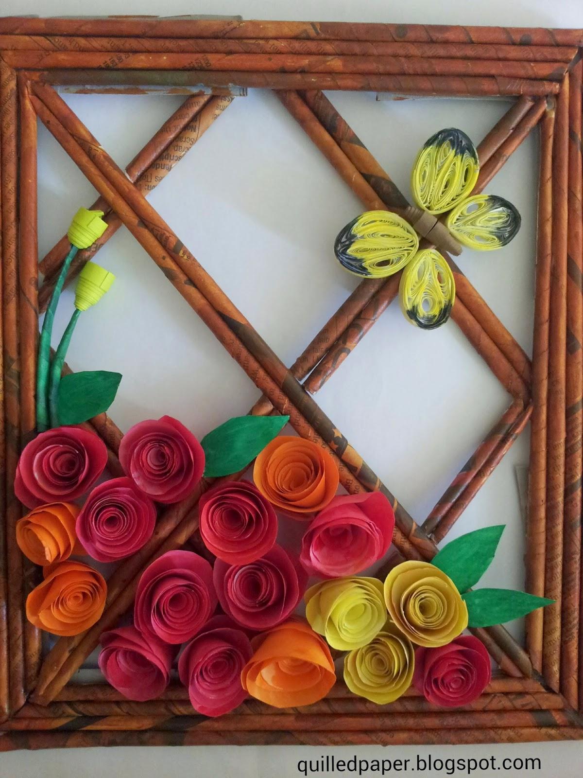 Paper magic: Roses on newspaper frame