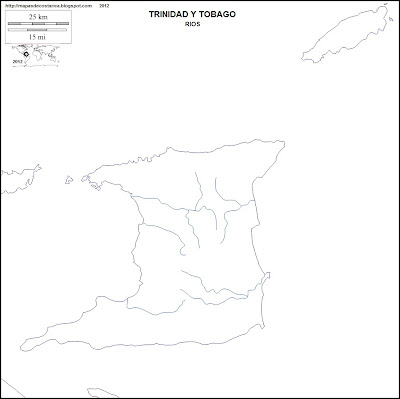 Mapa mudo de rios de TRINIDAD Y TOBAGO
