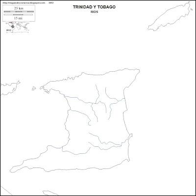 Mapa mudo de rios de TRINIDAD Y TOBAGO