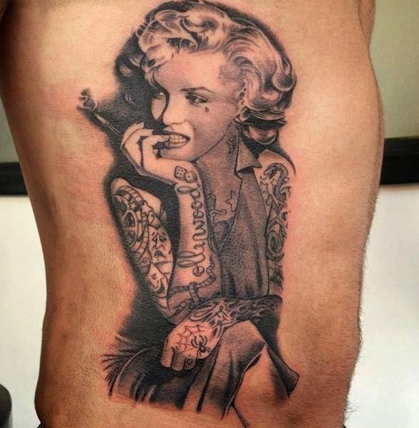 Smoking lady tattoo on side body