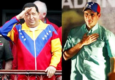 Current Venezuelan President Hugo Chávez and challenger Henrique Capriles