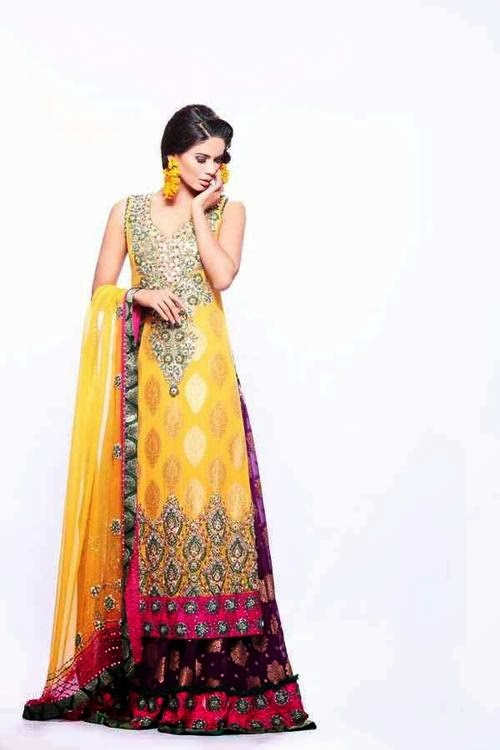 Mehndi Bridal Collection : Bridal mehndi dresses collection latest
