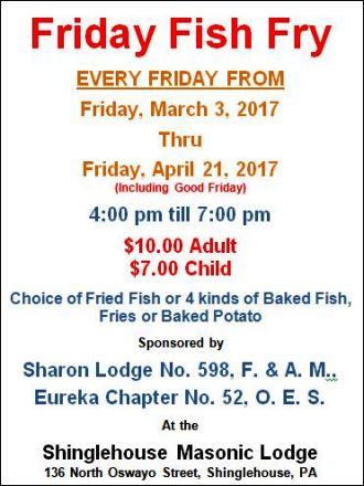 3-24 Fish Fry Sharon Lodge Shinglehouse
