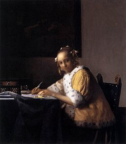 http://commons.wikimedia.org/wiki/File%3AVermeer_A_Lady_Writing.jpgFile URL: http://upload.wikimedia.org/wikipedia/commons/4/43/Vermeer_A_Lady_Writing.jpgAttribution: Johannes Vermeer [Public domain], via Wikimedia CommonsHTML Attribution not legally required
