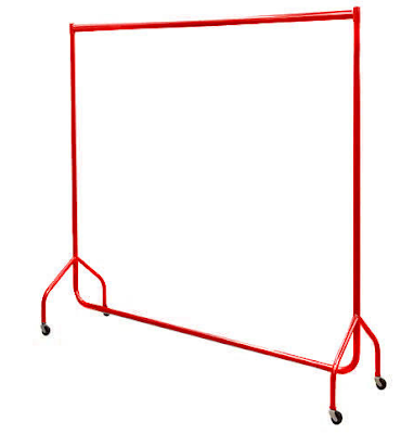 red garment rack