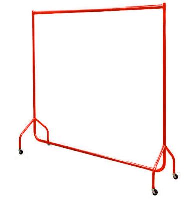 red garment rack