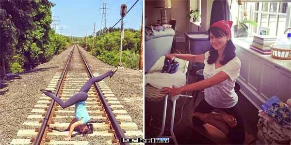 Foto Konyol Wanita Sedang Senam Yoga