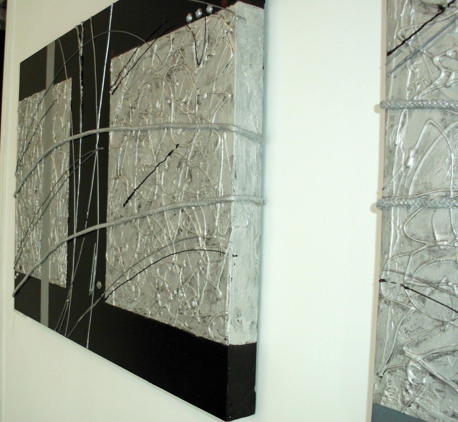 Ic design diptico wengue gris y plata - Cuadros abstractos relieve ...