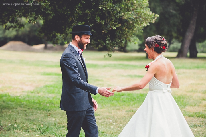 """bride and groom first look at roaring camp railroads"""