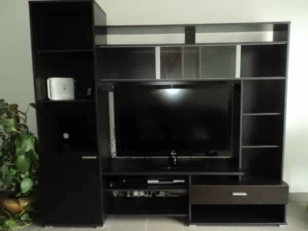 meuble tv noir rangement meuble tv. Black Bedroom Furniture Sets. Home Design Ideas
