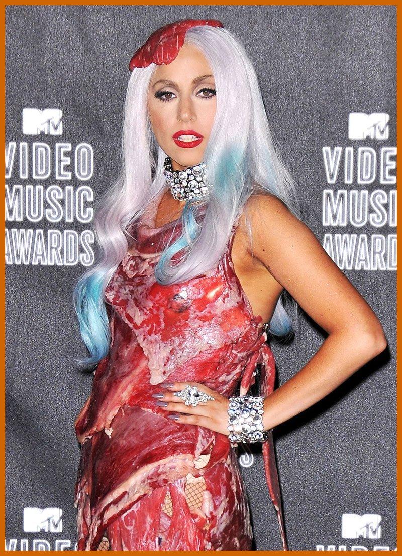lady gaga meat dress peta
