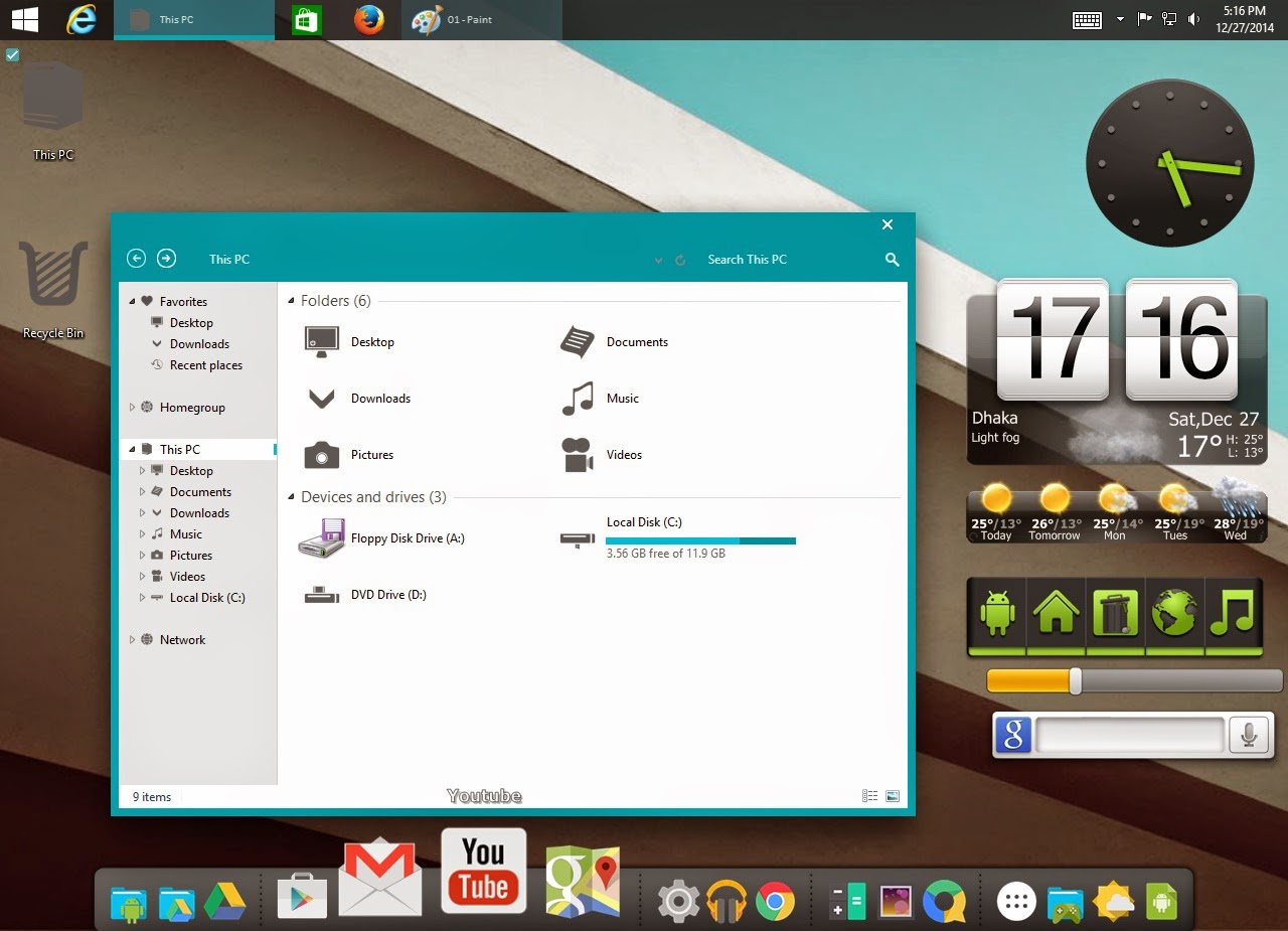How to use Android 5.0 Lollipop desktop theme on my laptop