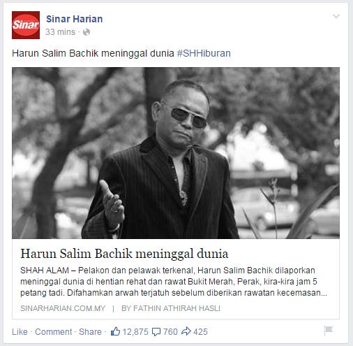 Harun Salim Bachik meninggal dunia
