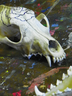 painting on coyote skull