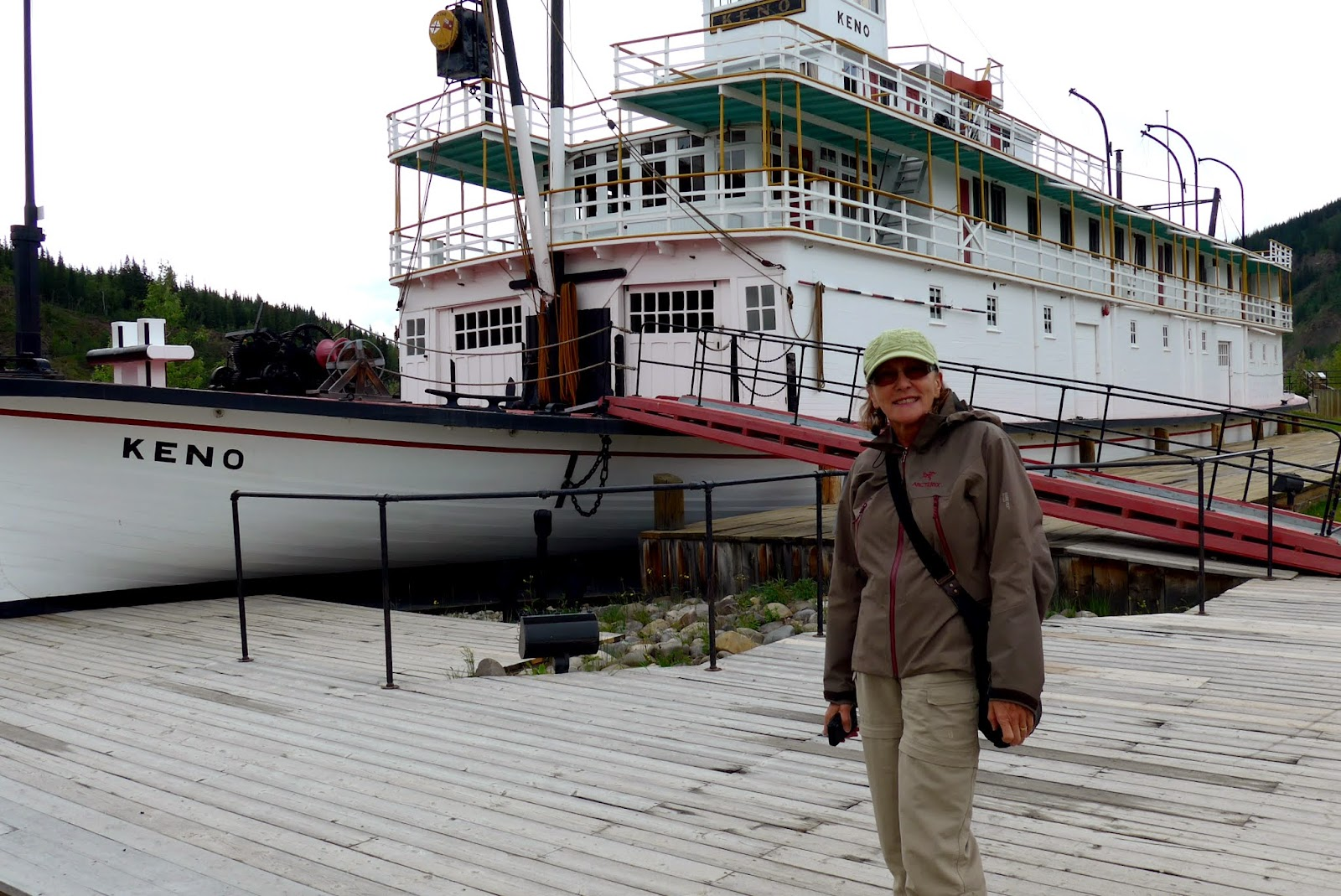 Liz in front of the SS Keno. A Canadian National Historic Site.