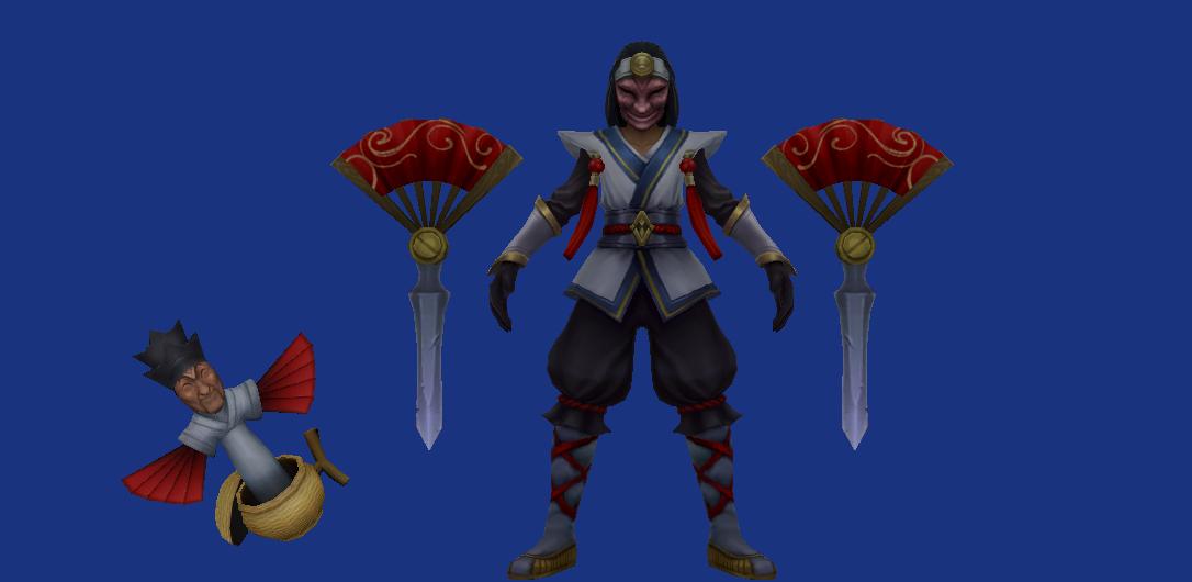 masked shaco splash art vs in game