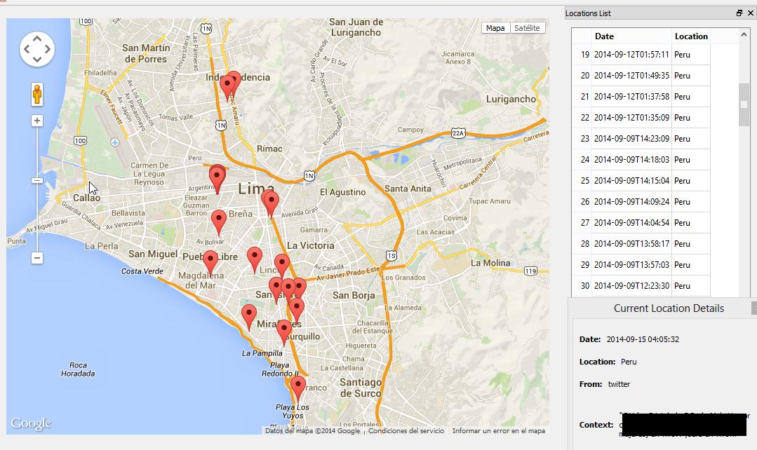 Podemos ver que lugares de la ciudad de Lima frecuenta este otro usuario