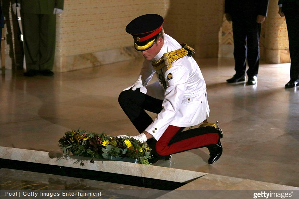 Prince Harry lays a wreath at the Tomb of the Unknown Soldier at the Australian War Memorial on April 6, 2015 in Canberra, Australia.