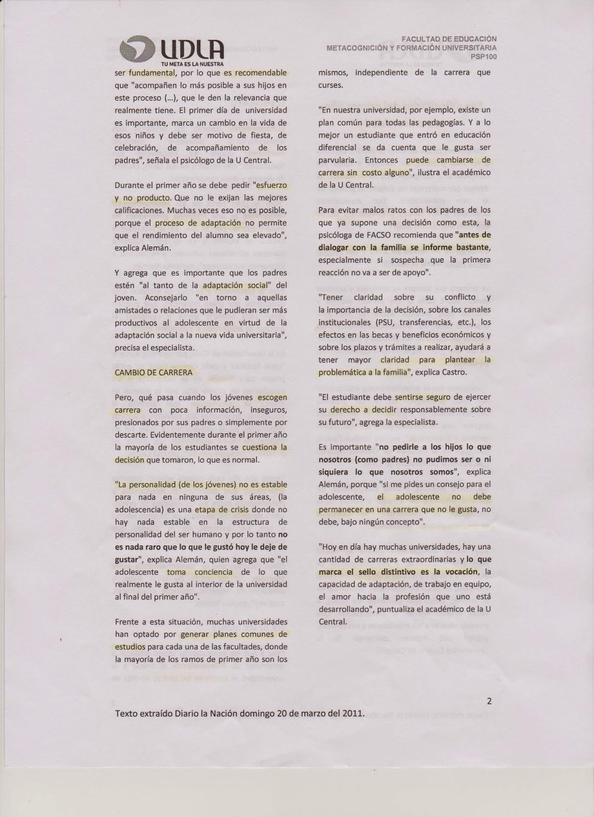 PSP-100 Metacognición y Formación Universitaria