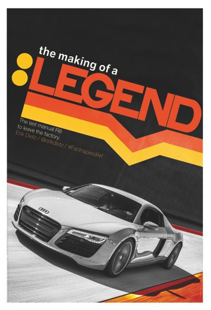 The last manual Audi R8, inspired art
