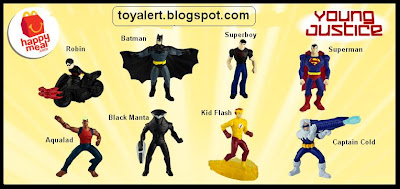McDonalds Young Justice and Littlest Pet Shop happy meal toy promotion 2011 - Kid Flash, Batman, Robin, Superman, Superboy, Black Manta, Captain Cold, Aqualad