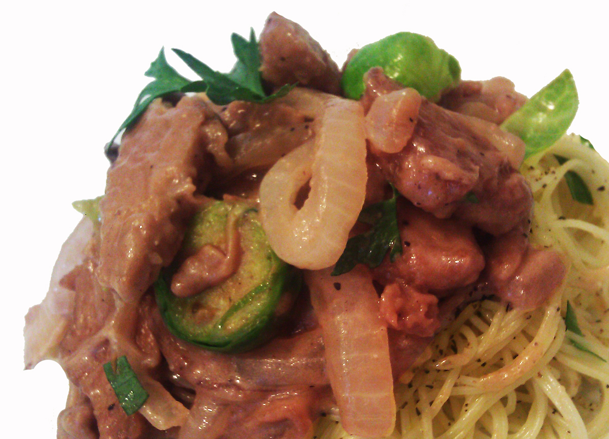 Seitan Stroganoff, Capellini and Brussel Sprouts