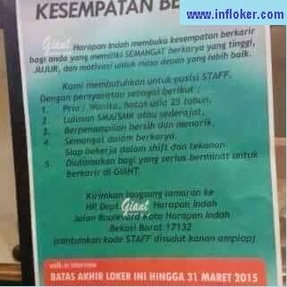 Info Lowongan Krja Staff Giant Harapan Indah Bekasi