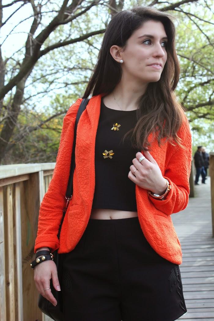 crop top, diana dazzling,  fashion blog, fashion blogger, primark, opening, paris, o'parinor, orange blazer
