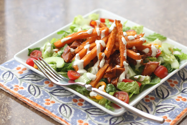 BBQ Chicken Salad with Sweet Potato Fries recipe by Barefeet In The ...