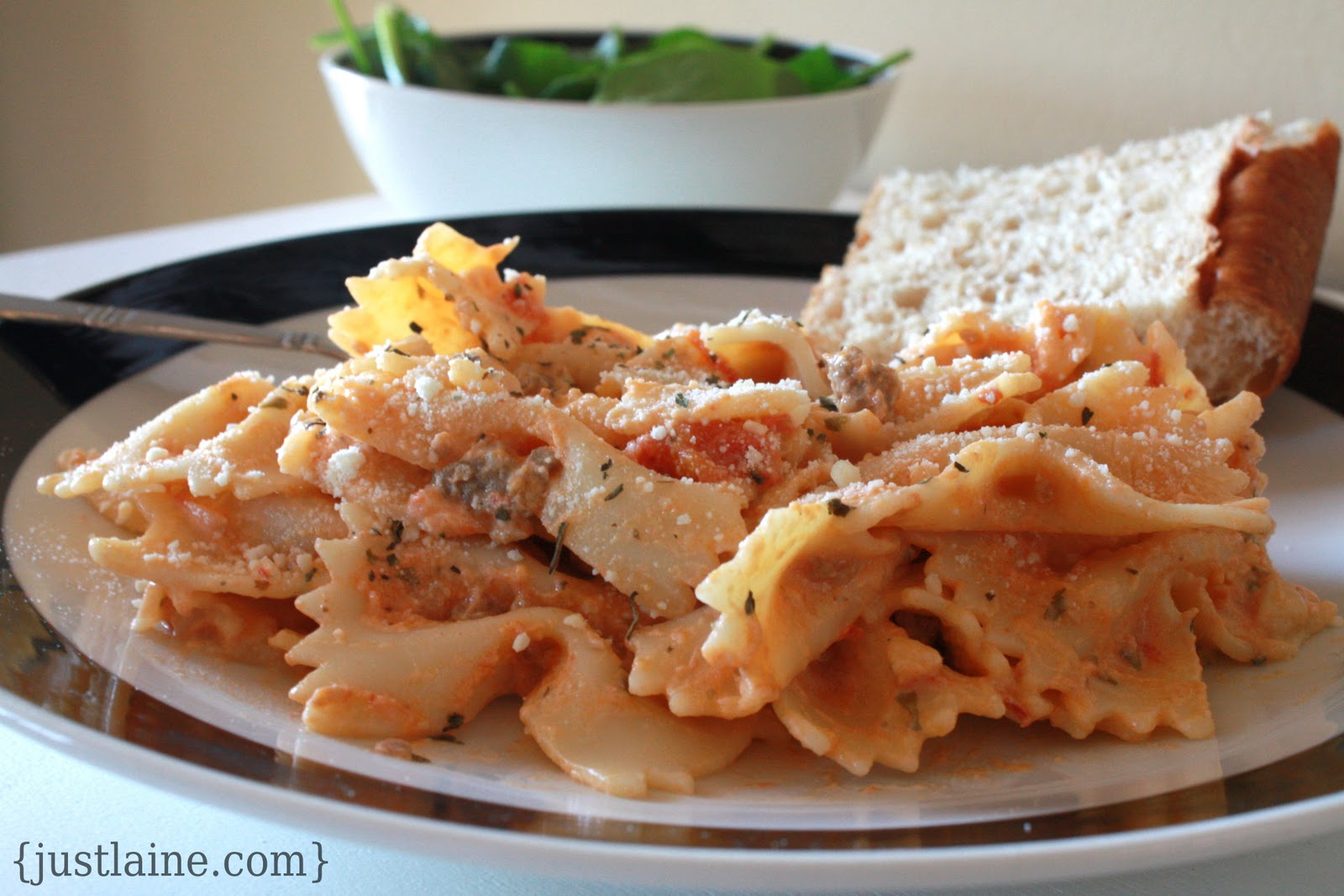 Bowties with Sausage & Tomato Cream Sauce – guest post from Just ...